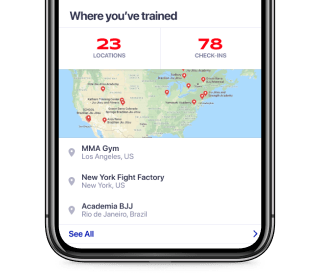 See how many places you trained or competed at.